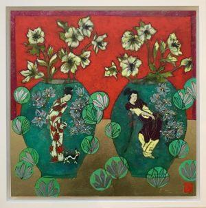 Emma Forrester Ivory Hellebores framed