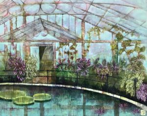 Emma Forrester Kew Waterlily House gardens painting