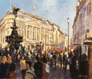 John Hammond Eros Crowds piccadilly painting