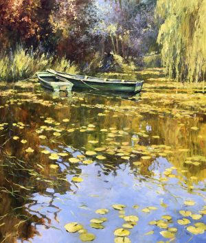 John Hammond The Green Boats giverny painting