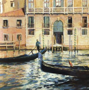 John Hammond Gondolas Passing venice painting