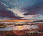 John Connolly Sun Setting, Isle of Wight beach painting