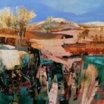 Celia Wilkinson Blue Skies Calling 80x80cm large abstract landscape