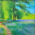 Cornish Blues John Connolly framed 2 bluebells painting