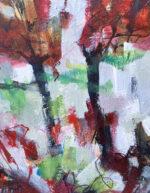 David Brett Across The Divide red green abstract art