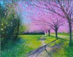 Elmton Blossom Time John Connolly 76x60 framed 2 blossom painting