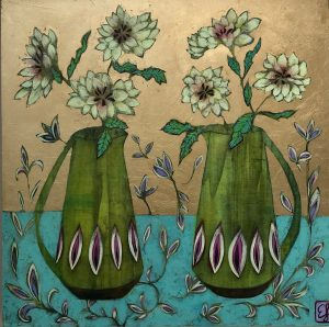 Emma Forrester Chartreuse Vases 55 x 55 cm Mixed media on gesso panel 895