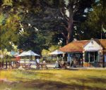 JH02 17 Afternoon Tea Montpellier Gardens 30x35cm painting