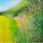 John Connolly A Few Hollyhocks hedgerow painting