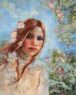 Julie Cross Blossom Blown floral portrait painting