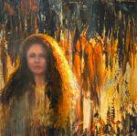 Julie Cross Fire Wood fire portrait painting