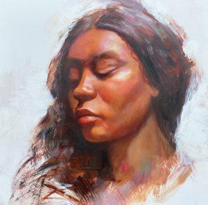 Julie Cross Taj portrait study painting for sale