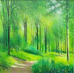 Spring Greens John Connolly colourful trees painting