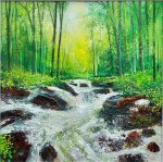 Woodland stream John Connolly 50x50cm painting