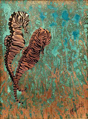 Paul Fearn Electric Blue I seahorse wall art