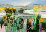 Celia Wilkinson Shimmering Acrylic on canvas 70x108cm colourful art for interiors