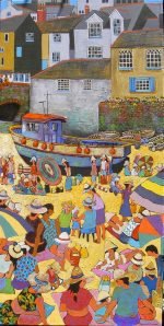 PICT0020 Summer in Polperro 100x50cm mixed media stretched canvas frame