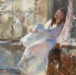 Julie Cross Pink Curtain white figurative painting
