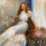 Julie Cross The Pink Rose white dress painting