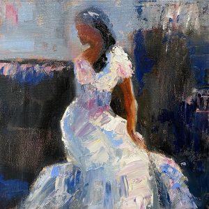 Julie Cross Twist wedding dress painting