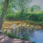 Grace Ellen Dappled Reflections, Mole river painting of local West Sussex Surrey landscape with leafy green trees along calm river bed painted in a modern yet traditional style