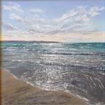 Grace Ellen Dusk Light Gwithian, original Framed Cornwall Art painting of seascape in Hayle beach