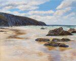 Grace Ellen Rockpooling St. Agnes original cornwall seascape painting